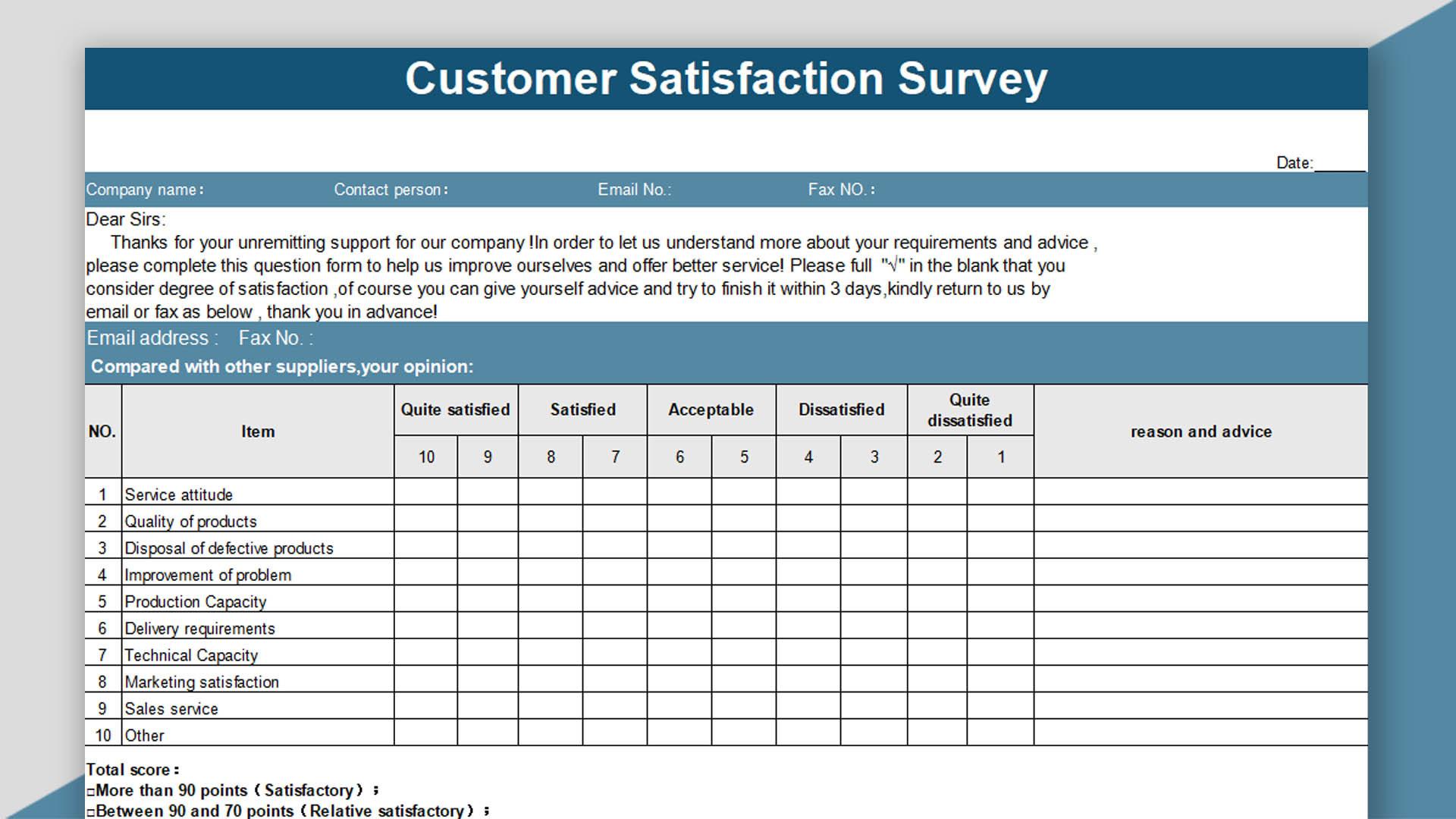 customer feedback form template xls WPS Template - Free Download Writer, Presentation & Spreadsheet